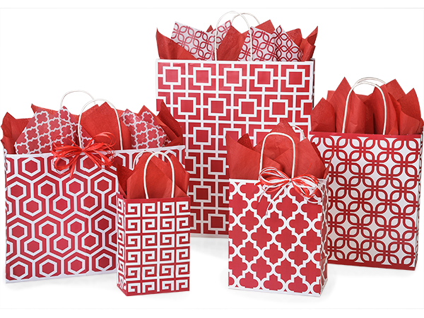 100% Recycled Red Geo Graphics Shopping Bags